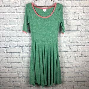 Lularoe Nicole dress green pink size medium